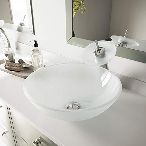 VIGO White Frost Glass Vessel Bathroom Sink and Waterfall Faucet with Pop Up, Chrome