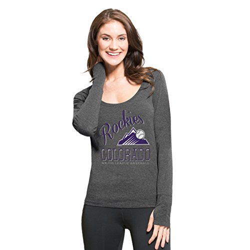 fan products of MLB Colorado Rockies Women's '47 Dash Long Sleeve Tee, Medium, Shift Black