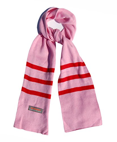 (Girls Winter Scarf Pink Soft Long with Stripes by Wee Dreamers)