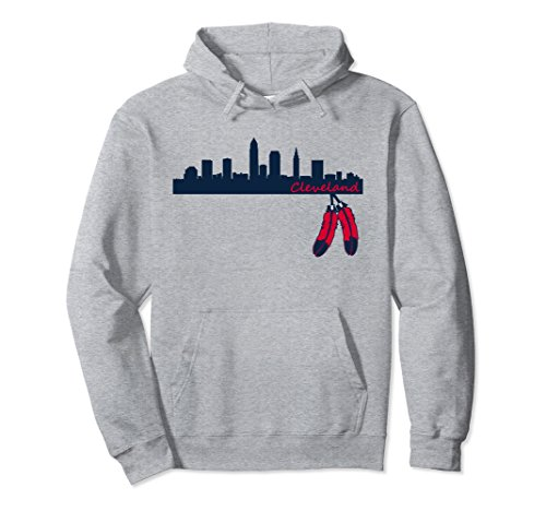 Unisex Cleveland Skyline & Native American Feather Pullover Hoodie XL: Heather Grey -