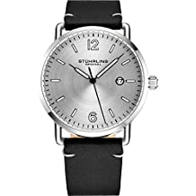 Stuhrling Original Watch for Men Black Leather Watch Band Silver Dial and Case with Date - 3901 Mens Watches Collection