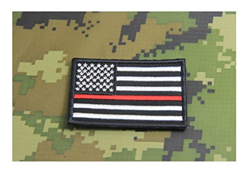 - Firefighter Thin Red Line United States Flag Patch Fire & Rescue EMT EMS Morale Patch Hook Backing