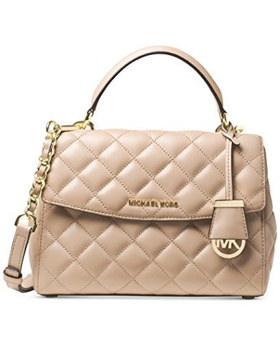 (Michael Kors Ava Small Top Handle Quilted Satchel Quilted Leather Bisque/Gold)