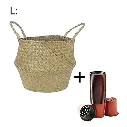 Samber Home Storage Organisation, Hand-Woven Foldable Plant Flower Pot Natural Seagrass Woven Basket Toy Storage Basket Wovening Laundry Basket Foldable Handcraft Weave Belly Basket (New Weave Baskets)