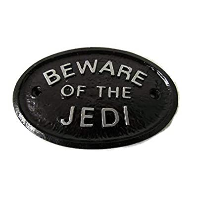 "Silver""Beware of the Jedi"" Garden Wall Or Fence Plaque/Sign Black with Silver Raised Lettering : Garden & Outdoor"