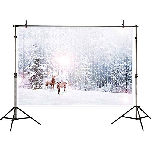 (Allenjoy 7x5ft Winter Scenic Photography Backdrop Background Reindeer Snow Forest Photo Studio Booth Photobooth Prop for Newborn Baby Shower Kids)