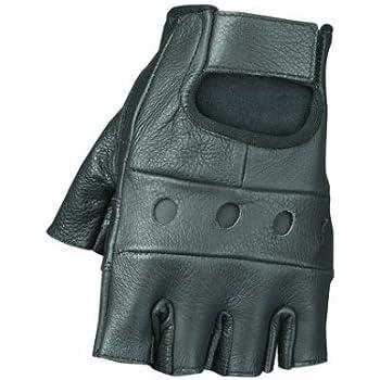 Raider Black Large Leather Fingerless Gloves