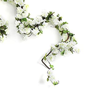 Only Angel Artificial Rose Flower Wholesale Flowers Vine Garland Hanging Christmas Decor Flowers Wedding Home Garden Outdoor Decoration-2 Pack Cream 1