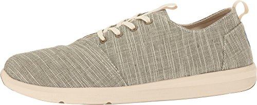 Sneakers Toms Mens Del Rey In Canvas, Easy-fit In Leggera Gomma Antiscivolo, Suola In Gomma Verde Militare Microstripta