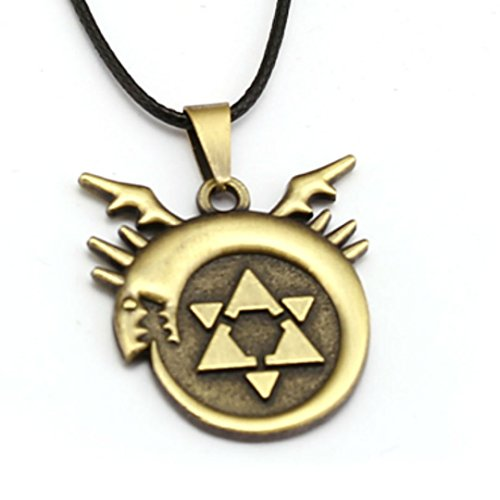 Anime Metal Pendant - Dan's Collectibles and More Ouroboros Full Metal Alchemist Necklace Pendant Blood Seal Ed Al Elric Anime Show Star Cosplay w/Gift Box
