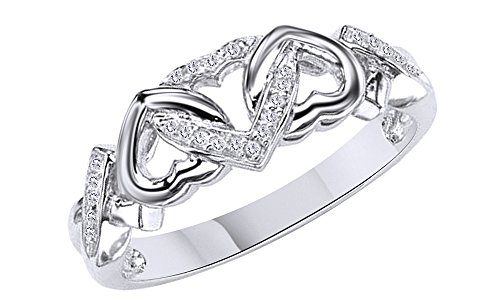 Jewel Zone US White Natural Diamond Triple Heart Promise Ring in 14k White Gold Over Sterling Silver (0.03 Ct)