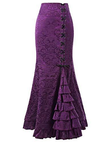 Women Gothic Steampunk Mermaid Skirt Ruffles Pirate High Waist Lace Up Dress1 Purple Floral S ()