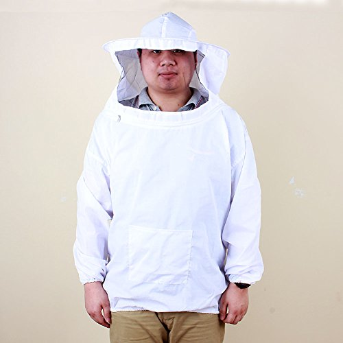 Yosoo Deluxe Cotton Polyester Professional Beekeeping Bee Keeping Pull Over Jacket and Fencing Veil Hood Hat Smock Dress Protective Equipment with Zipper for Bee Keepers White