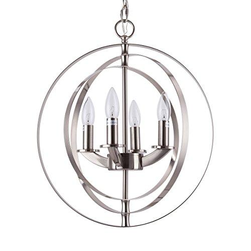 4 Light Dining Chandelier (Cerdeco 4-Lights Sphere Chandelier Modern Pendant Light Brushed Nickel [UL Listed])