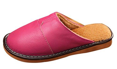 Cattior Donna In Morbida Pelliccia Foderata Di Pantofole Morbide Pantofole In Pelle Rosa