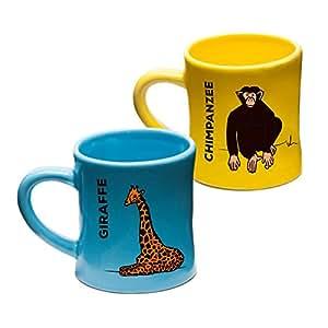 Wildini BittyMugs Giraffe/Chimpanzee - Toddler Coffee Mugs, 4oz Ceramic, BPA FREE Baby Mug, Montessori Preschool Mug, Childrens Cup, Animal Mug, Hot Chocolate Mug Set, Espresso Mug, Gift for Kids