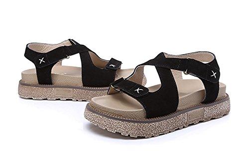 à Casual 34 Rome xie Student semelles 42 Cuir Plus Chaussures pour plates Chaussures Sandales black Velcro femmes épaisses size pour femmes S66qUwn5
