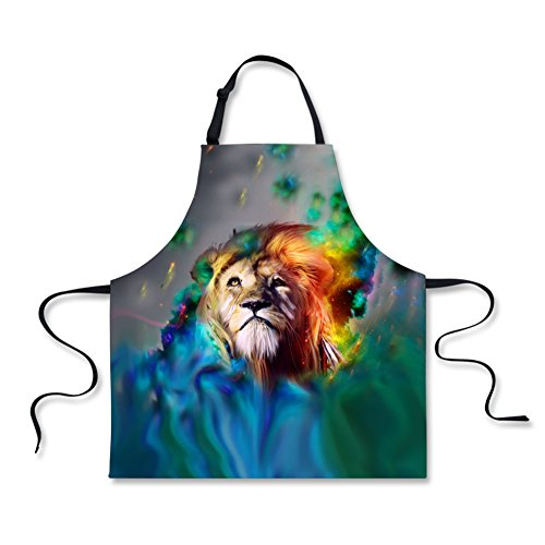 Youngerbaby Animal Lion Aprons for Women Men Adjustable Neck Strap Funny Kitchen Apron Restaurant Chef Apron for Cooking,BBQ,Grilling, Birthday for Wife Husband Girlfriend