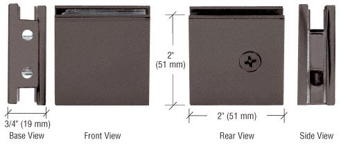C.R. LAURENCE SGCU10RB CRL Oil Rubbed Bronze Square Style Notch-in-Glass Fixed Panel U-Clamp (Mount Brass Clamps Wall)