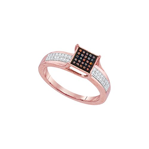 10kt Rose Gold Womens Round Red Colored Diamond Square Cluster Fashion Ring 1/7 Cttw - Diamond Square Cluster Ring