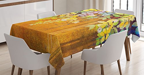 Ambesonne Watercolor Flower Decor Tablecloth, Soft Colored Spring Flowers and Leaves Misty Retro Background Nature Art Print, Dining Room Kitchen Rectangular Table Cover, 60 X 84 Inches, Orange Green