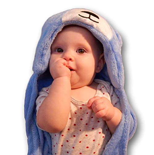 Cozy Fleece Baby Blanket | Hooded Toddler Security Comfort Wrap for Boy or Girl ()