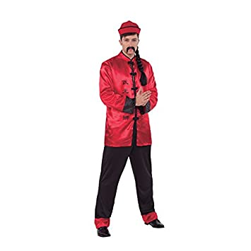 Fyasa 706288-T04 Chinese Boy Fancy Dress Costume for 12 Years Above, Multi-Color, Large Fyasa_706288-T04