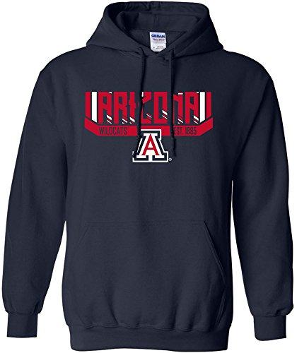 NCAA Arizona Wildcats Adult Unisex NCAA Bars & Stripes Hooded Sweatshirt,Large,Navy -