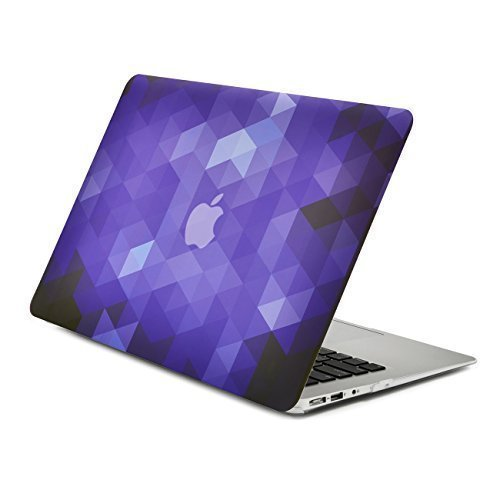 Unik Case Gradient Ombre Triangular Galore Dark Purple Graphic Ultra Slim Light Weight Matte Rubberized Hard Case Cover for Macbook Air 13 13-Inch Model: A1369 and A1466