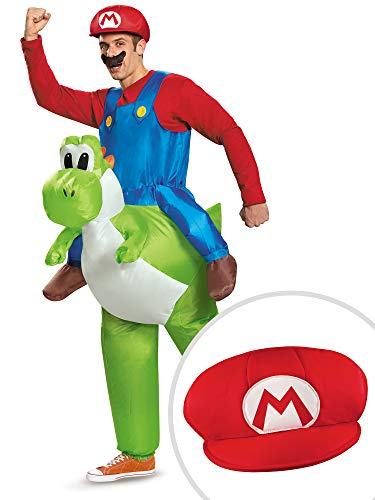 Super Mario Ride On Yoshi Inflatable Costume Kit Adult Standard with Mario Hat