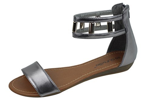 Shoes 18 Womens Roman Gladiator Sandals Flats Thongs 2 Buckle Shoes 4 colors (7, 181022 Silver)