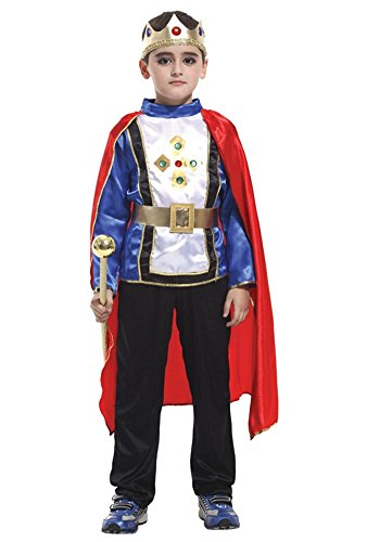 (Kalanman Children Boys Halloween Dress Up & Role Play Costume Medieval Prince King Warrior Outfit (M(Fit for 4-6 Age), Prince)