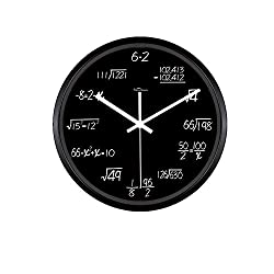 Kinger_Home 12-inch Metal Math Wall Clock , Unique Wall Clock Modern Design Novelty Maths Equation Clock ,Each Hour Marked By a Simple Math Equation (Black)