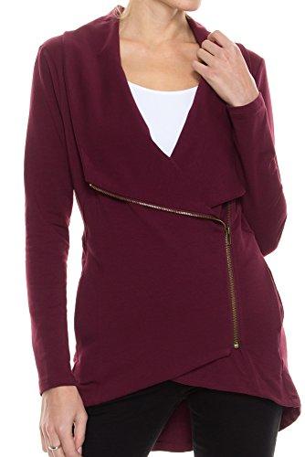 KLKD B003 Women's Solid Draped Side Zip-up Cardigan Jacket Plum (Zip Cardigan)