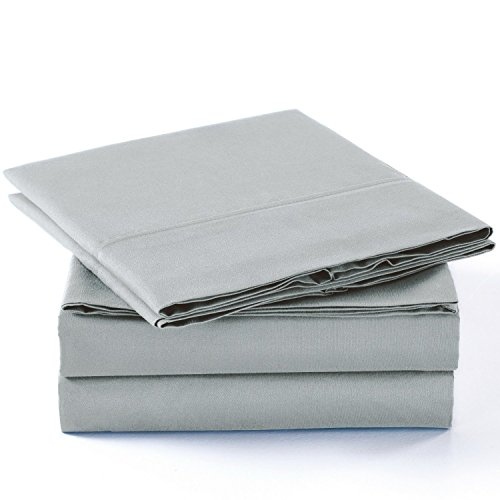 Luxury Comfort 2800 Series Wrinkle & Fade Resistant Egyptian Cotton Quality Ultra Soft 4-Piece Bed Sheet Set (Queen, Light Grey 1LN) - Asian Sheet Set