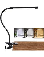 Led-leeslamp, dimbaar, met klem, oogbescherming, met 3 lichtmodi & 10 helderheidsniveaus, USB-aansluiting, draagbaar, flexibel, zwanenhals, leeslamp voor slaapkamer & bureau, 7W (zwart)