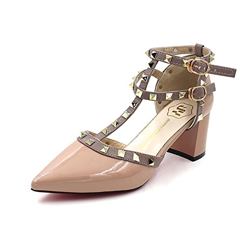 Vlad Konovalov Women Pumps Rivet Slingback Studs Straps Stilettos High Heels Pointed Toe Sandals (US 6.5, Nude)