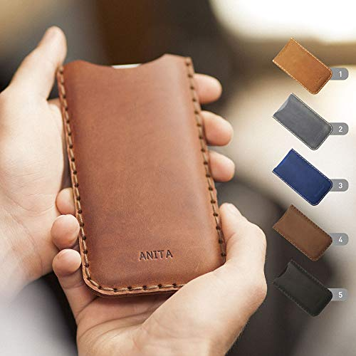 Embossed Cover Genuine Leather Case Sleeve Pouch Shell Monogram your Name Custom Sizes available for BlackBerry KEY2 LE Motion KEYone DTEK60 DTEK50 Priv Porsche Design P9983 Graphite - Blackberry Pouch Z10