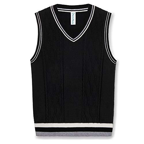 Benito & Benita Sweater Vest School Vest V-Neck Uniforms Cotton Cable-Knit Pullover for Boys/Girls 2-12Y (6-7Y / 122CM, Black) Black V-neck Cable Knit