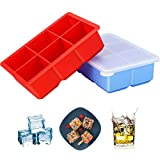 Large Ice Cube Trays with Lids, DAYOO 2 Pack Silicone Ice Cube Trays Flexible and Easy Release 2 Inches Ice Cube Molds for Whiskey, Cocktails, Baby Food - BPA Free, Stackable Durable, Dishwasher Safe