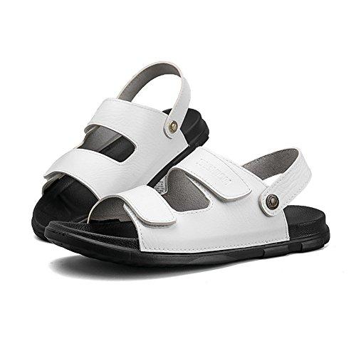 44 in uomo Color 2018 Pantofole Bianca da EU antiscivolo Casual gli PU senza piatti Mens Scarpe da Sandali shoes per Dimensione schienale regolabili pelle amanti spiaggia morbidi xzzB4Xp