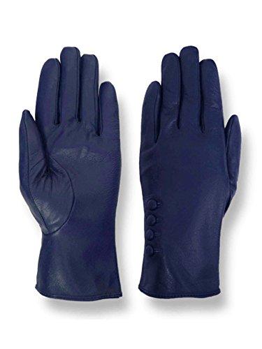 バルコニー慣れる放散するGiromy Samoni Women 's Plush Lined 4ボタンドレスレザー手袋 – ブルー