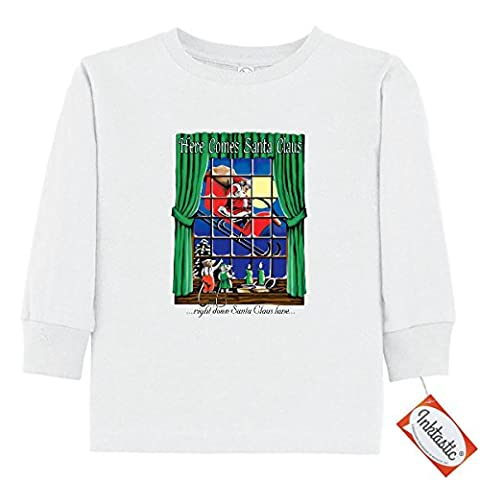 Inktastic Little Boys' Mice in Window Toddler Long Sleeve T-Shirts 3T White - Mouse Sleigh
