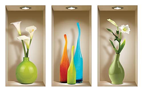 The Nisha Art Magic 3D Vinyl Removable Wall Sticker Decals DIY, Set of 3, Colored Vases ()