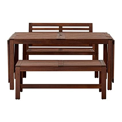Fine Amazon Com Ikea Table 2 Benches Outdoor Brown Stained Gmtry Best Dining Table And Chair Ideas Images Gmtryco