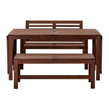 Amazon.com: IKEA mesa + 2 bancos, al aire última ...
