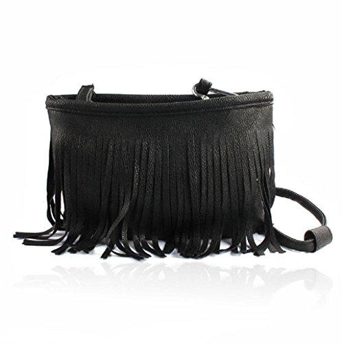 Sannysis Hot hombro de la borla Mensajero Las mujeres Satchel bolso (marrón) Negro