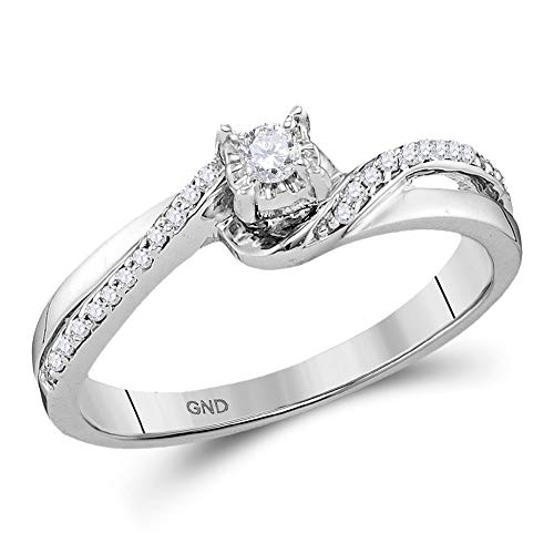 10kt White Gold Womens Round Diamond Solitaire Bridal Wedding Engagement Ring 1/8 - Gold White Diamond Solitaire