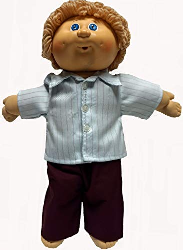 - Doll Clothes Super store Blue and Cranberry Stripe Shirt with Pants for Boy Baby and Cabbage Patch Kid Dolls