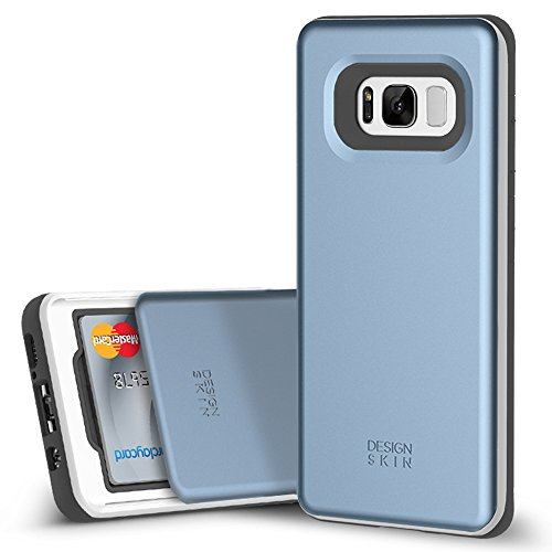 DesignSkin [Slider] Galaxy S8 PLUS Case with Slim Triple Layer Wallet Design Shockproof Bumper Cushion Card Slot Holder for Samsung Galaxy S8 PLUS (S8+) Fashionable Smartphone Accessory (Coral Blue) ()